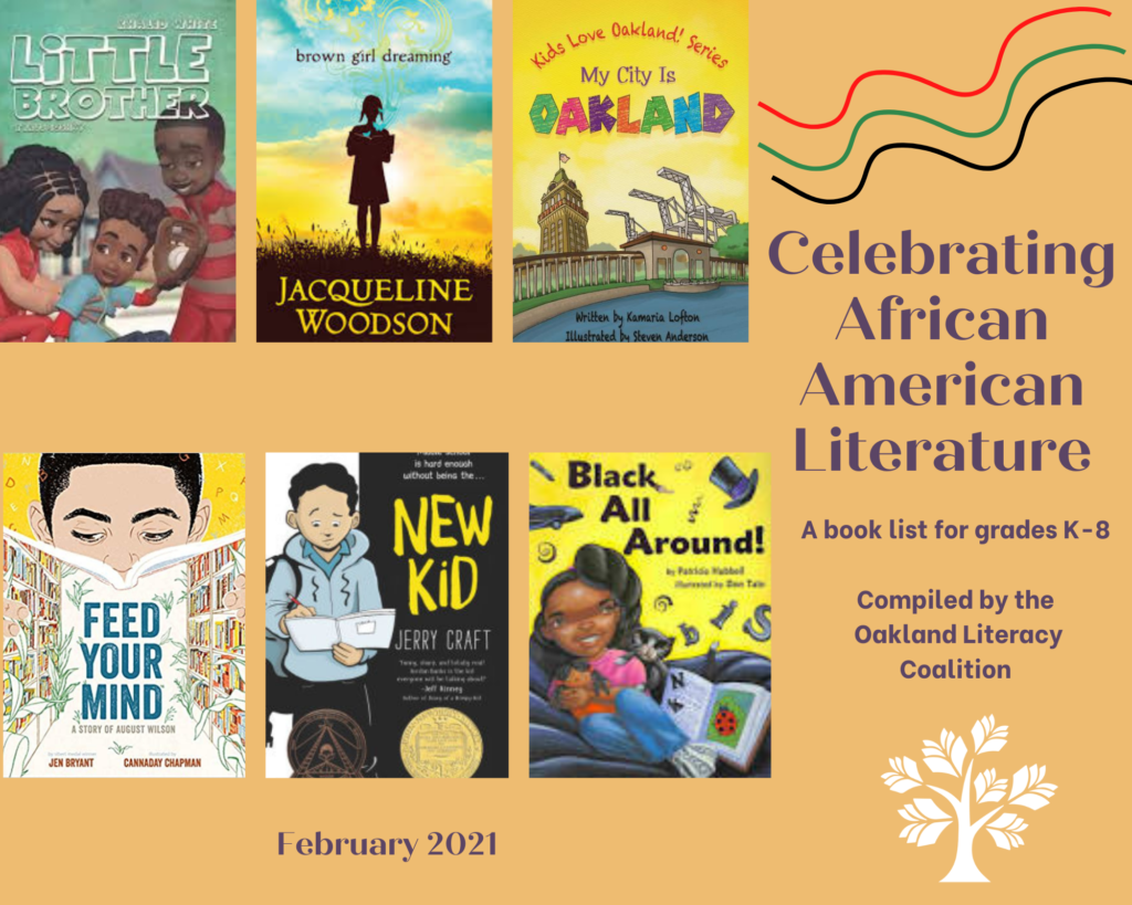 Cover page of the book list with pictures of six children's books and the heading: Celebrating African American Literature, A book list of grades K-8